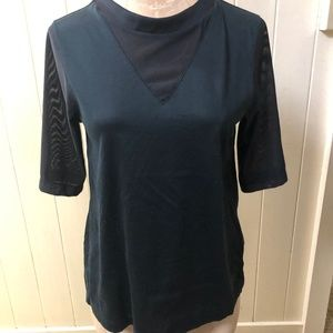 NIKE Sportswear sz S Black VNECK Top Mesh Half Sle